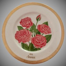 Gorham Rose Society Bi Centennial  Limited Edition America Plate 1976