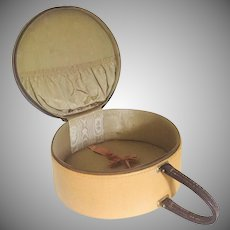 Vintage  Round Train Case Leather Trim by Tailored Truly Light