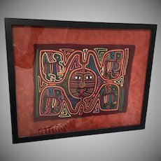 Panama Indian Kuna Mola  Vintage Textile Art 4 Birds Folk Art Framed