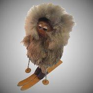 Mid Century Modern Wood Fur and Leather Skier Folk Art Figurine