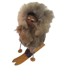 Mid Century Modern Wood Fur and Leather Skier Folk Art Figurine