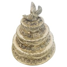Silver Wedding Cake with Doves Vintage Jewelry Trinket Box