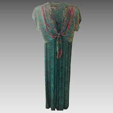 Carole Little Summer Boho-Chic Split Skirt Dress with Self Tie Attached Capelet