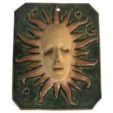 Ceramic Vintage Sun and Stars  Wall Place Plaque Signed by the Artist 1980's