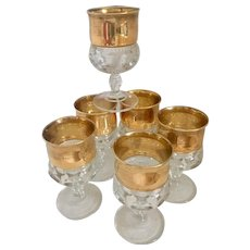 Mid Century Modern Kings Crown Thumbprint Set of 6  Gold Banded Goblets