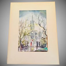 Rainy Day Street Scene a Church in New England Signed Watercolor Matted 1960's
