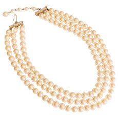 Faux Pearl Triple Strand Jackie O Style Necklace Rhinestone Adjustable Clasp