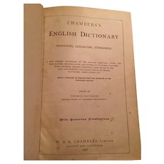 1898 Edition Chambers English Dictionary, Rebound in Leather
