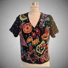 Michael Simon Designer 1990's Summer Tropical Fruit Button Front Sweater