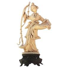 Norleans Faux-Bone Asian Figurine on Pedestal 1950's