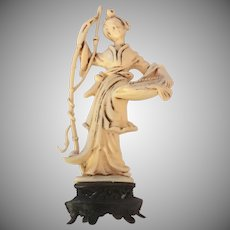 Norleans Faux-Bone Asian Figurine on Pedestal 1950's