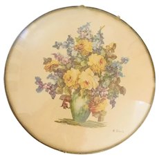Vintage Floral Still Life Print in Convex Glass by M. Black