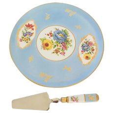 Limoges France Cake Plate with Matching Pastry Server Flowers Gold Accents