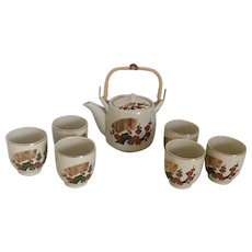 "1970s Tea Set 7 Piece from Japan with Floral and Gold Accents ""New"" Vintage"