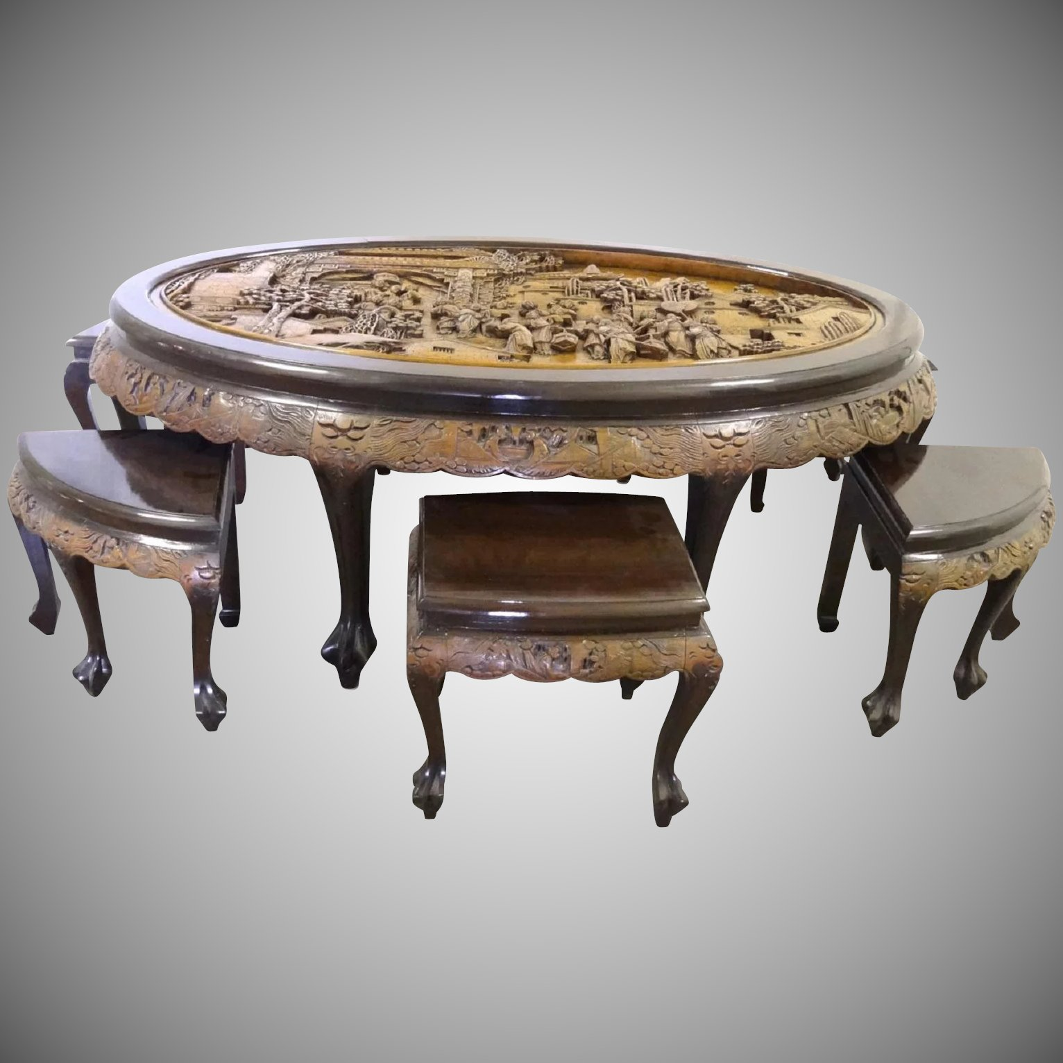 Asian Hand Carved Mahogany Tea Table with 6 Stools by George Zee