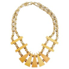 Napier Signed Ivorine, Faux Bone and Gold Tone Bead Vintage Collar Style Necklace