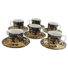Egyptian Revival Fathi Mahmoud for Limoges Vintage Set 6 Cups and Saucers