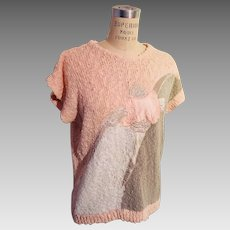 Satin Lace Embroidered Shell Sweater 1980s Peach Grey White