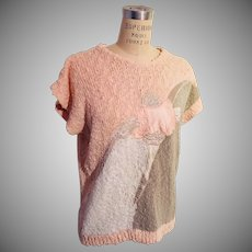 Summer Soft Peach  Grey  Off White with Satin Lace Embroidered Shell Sweater 1980s
