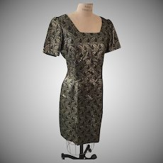 Sophisticated  After 5 Summer Sheath Dress in Black and Gold  1970s