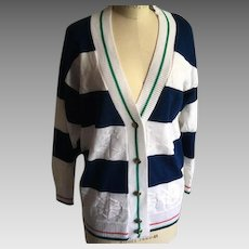 Vintage V Neck Cotton navy and White Nautical Theme  Cardigan  1980s