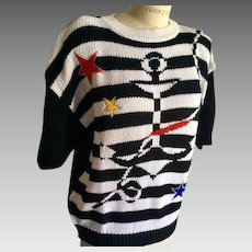 Vintage USA Colors Nautical Black and White  Short Sleeve Sweater with Appliques