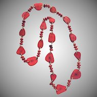 Vintage Dyed Tagua Nut and Seed Linked Necklace 1980