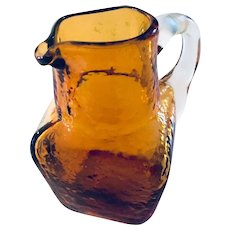 Vintage Pilgrim Glass Amber Textured Small Square Pitcher Mid Century Modern