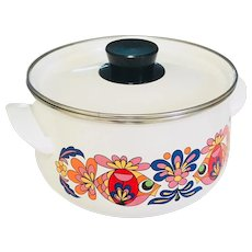 Retro Enamel Dutch Oven White adorned with Psychedelic Fish and Fauna 1970s