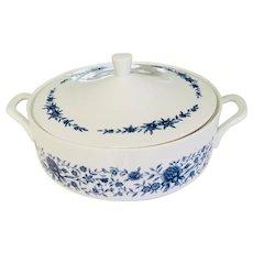 Vintage Blue Brocade Elite Creation Covered Vegetable Casserole Fine China Japan 1960s