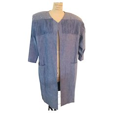 Denim Look Fringed and Studded Open Duster 1980s