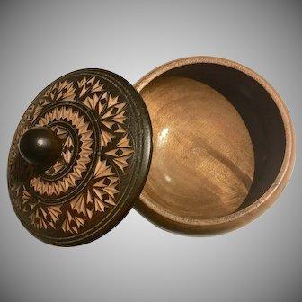 Antique Carved  Wood Salt/Herb  Cellar / Box, 1800s