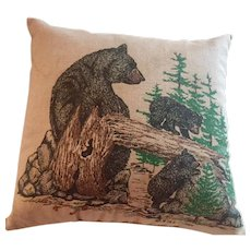 Vintage Country Bear and Cubs  Lavender filled Pillow, M.B.F.P 1984