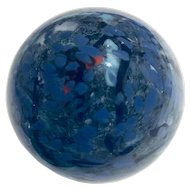 Vintage Signed Dichrotic Fused Glass Paperweight Abstract in Shades of Blue