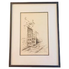 Mid Century NOLA New Orleans  Architectural Pen and Ink, Signed