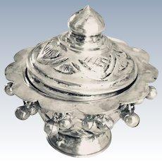 Vintage Sterling Silver Repousse Incense Holder Dangling Bead Trim