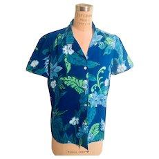 "Vintage ""Made in Hawaii"" Women's Blouse Blue/Green Hawaiian Print"