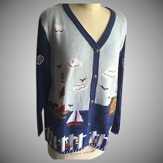 Vintage Quacker Factory New with Tags Cardigan  Sweater Lighthouse Theme 1990