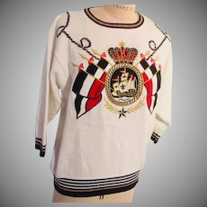 Nautical Theme Red White & Blue Vintage Tall Ship Sweater by Premiere 1980s