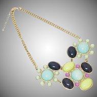 Vintage Faux Turquoise Multi Color Bib Necklace 1980s