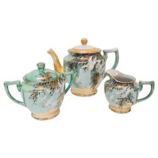 Lusterware Vintage Hand Painted Tea Set with Gold Accents Birds 1950s Japan