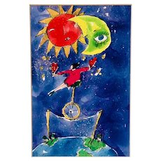 """""""Balanced"""" a Colorful, Whimsical Lithograph, pencil signed by the artist"""