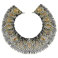 Artisan Art Deco Inspired Beaded Collar Necklace in Black, Gold, Copper and Silver