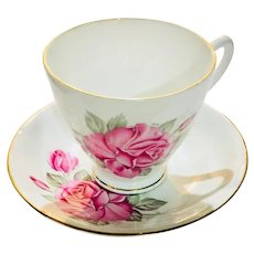 Vintage Hamilton English Bone China Pink Roses Tea Cup/Saucer Set