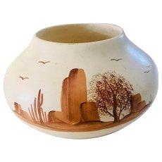 Southwestern Polychrome Hand Painted Vase, Signed