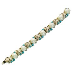 Vintage Sarah Coventry -  Alaskan Summer Collection Bracelet Faux Pearl/Turquoise