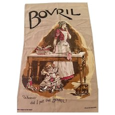 Vintage Bovril Graphic Tea Towel /Dish Towel by Sari Fabrics, England