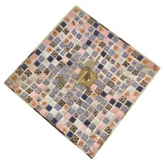 Mid Century Modern Tile  Brass Tidbit Tray with Brass Center Handle Atomic Era