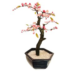 Vintage Genuine Petite Jade Bonsai Tree with Delicate Pink Blossoms and Buds
