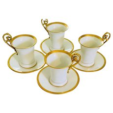Tressemann and Vogt  Limoges Antique Set of 4 Chocolate Cup & Saucers  Art Nouveau Heavy Gold Trim